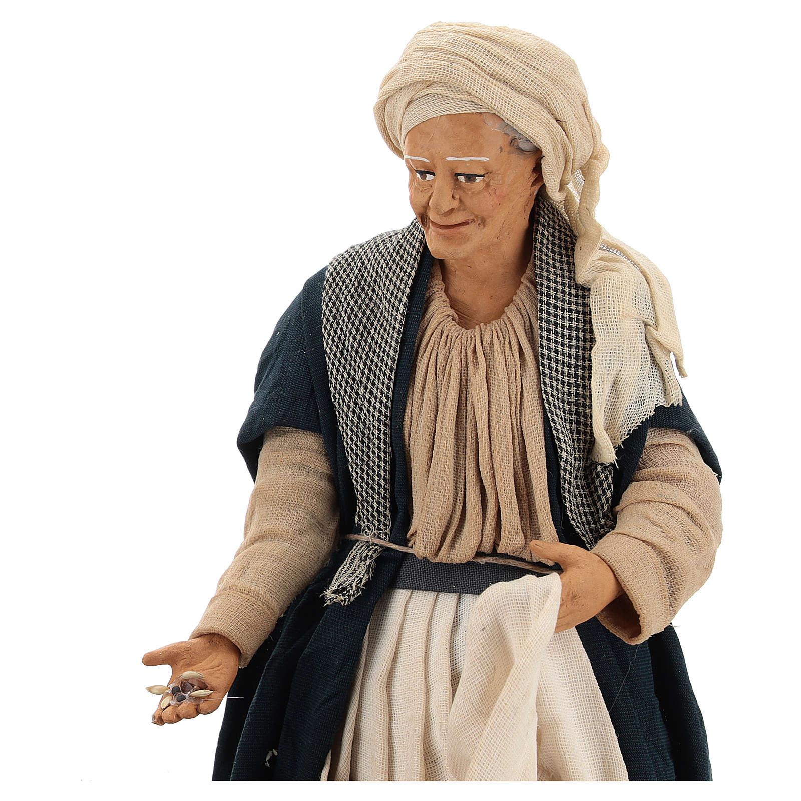 Animated Neapolitan Nativity figurine Woman feeding hens 30cm 4