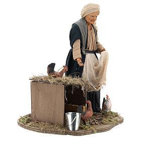 Animated Neapolitan Nativity figurine Woman feeding hens 30cm s4