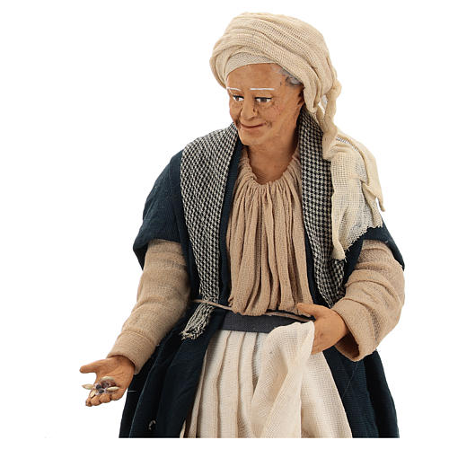Animated Neapolitan Nativity figurine Woman feeding hens 30cm 2