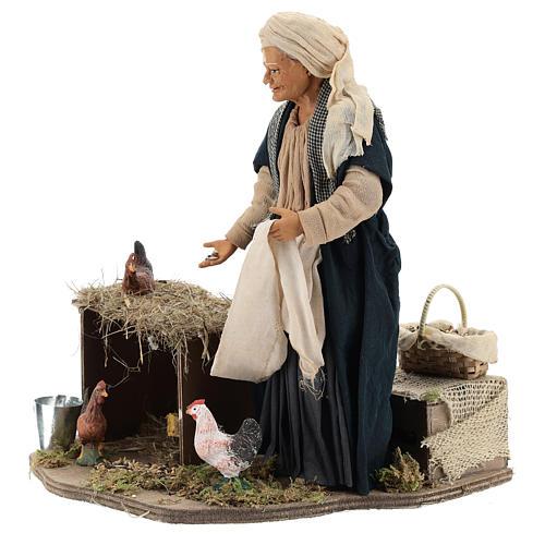 Animated Neapolitan Nativity figurine Woman feeding hens 30cm 3