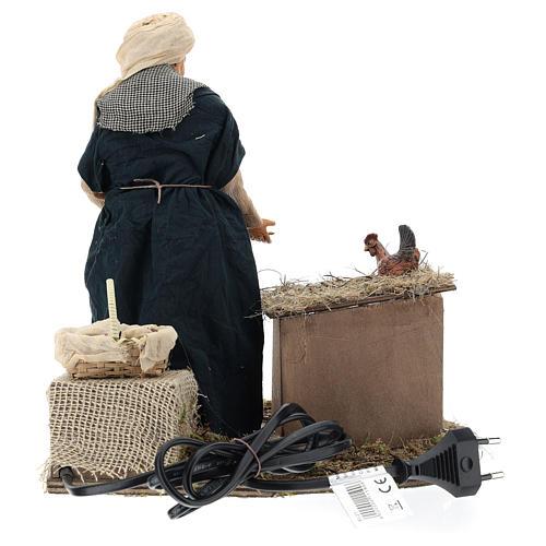 Animated Neapolitan Nativity figurine Woman feeding hens 30cm 5