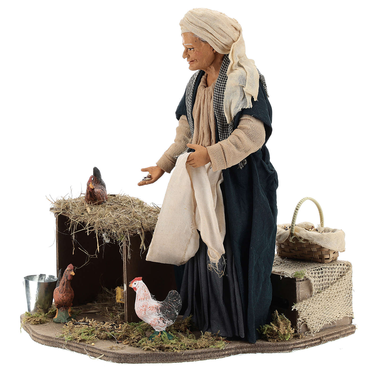 Animated Neapolitan Nativity figurine Woman feeding hens 30cm 4
