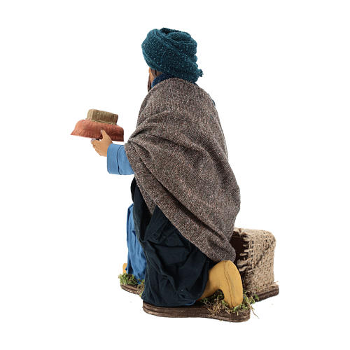 Animated Neapolitan Nativity figurine kneeling Wise King 30cm 5