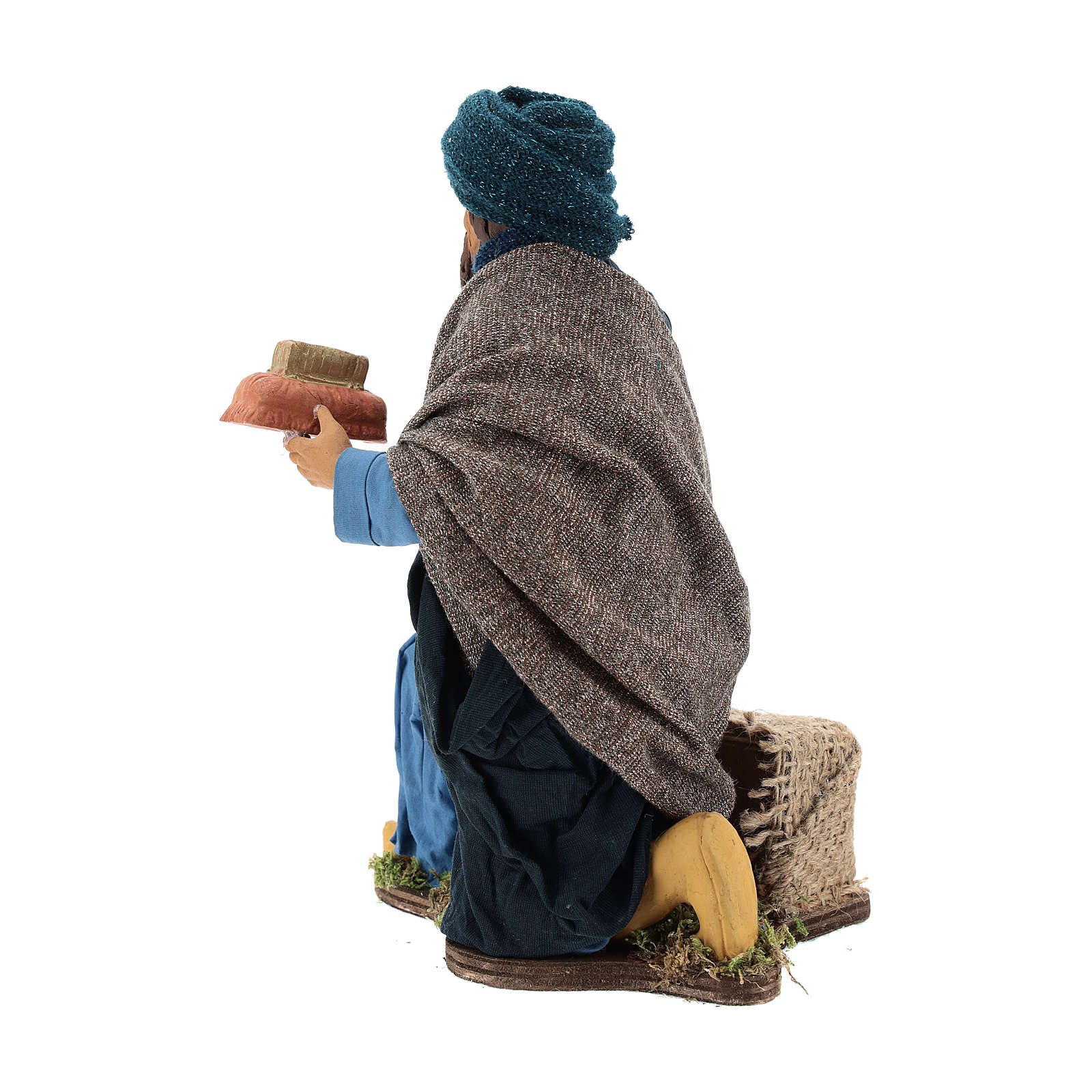 Animated Neapolitan Nativity figurine kneeling Wise King 30cm 4