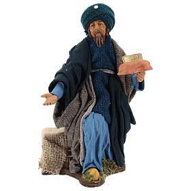 Animated Neapolitan Nativity figurine kneeling Wise King 30cm s1