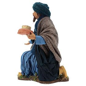 Animated Neapolitan Nativity figurine kneeling Wise King 30cm s4