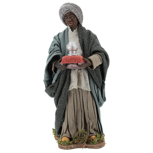 Animated Neapolitan Nativity figurine Black Wise King 30cm 1