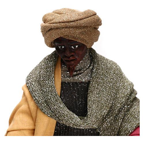 Animated Neapolitan Nativity figurine Black Wise King 30cm 2