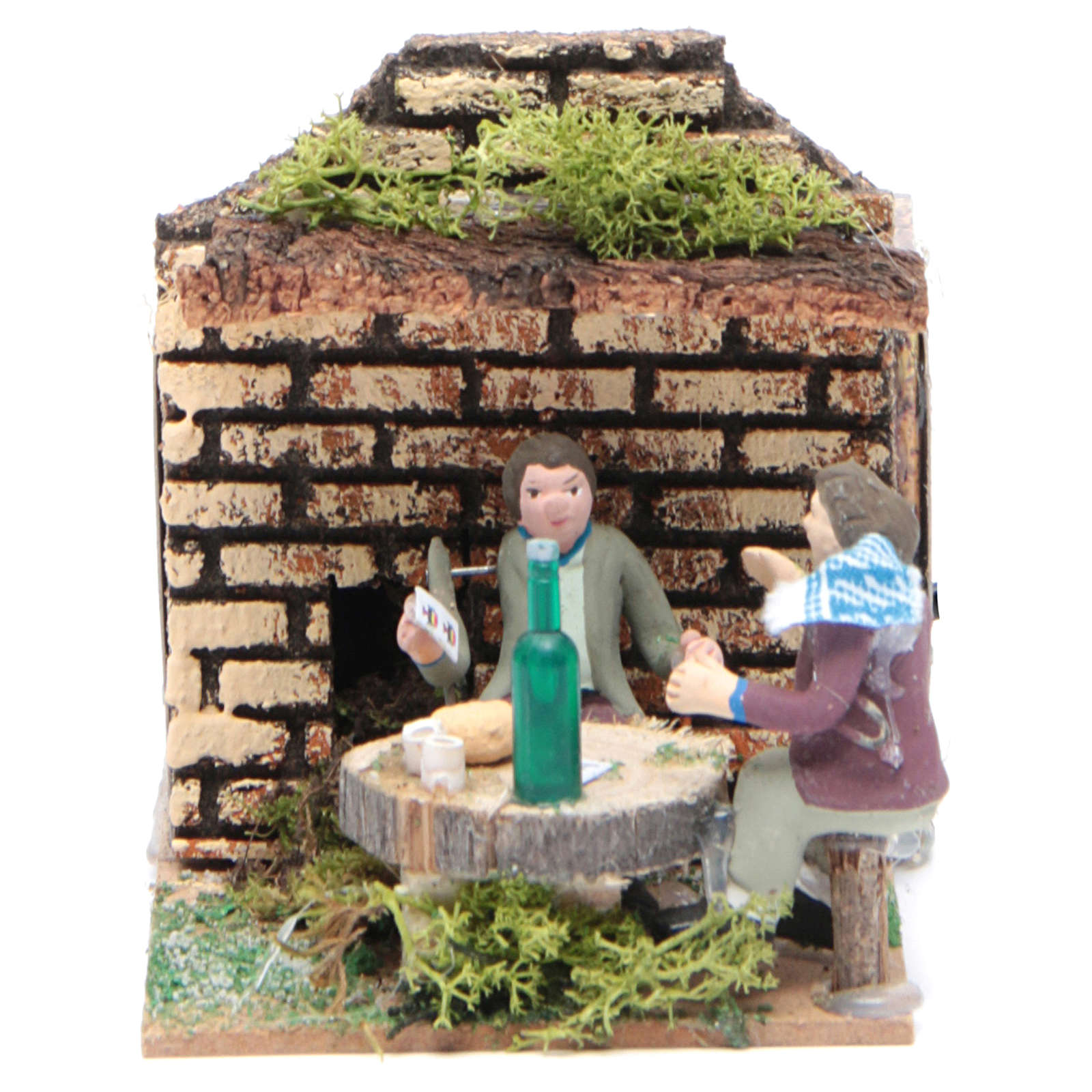 Setting with two shepherds measuring 7cm, animated nativity figurine 3
