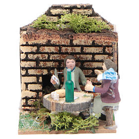 Setting with two shepherds measuring 7cm, animated nativity figurine s1
