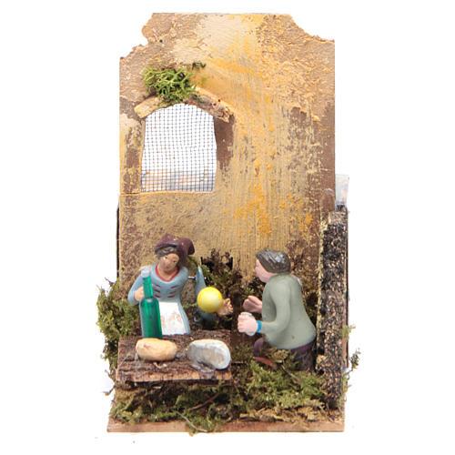 Scene with two shepherds measuring 7cm, animated nativity figurine 1