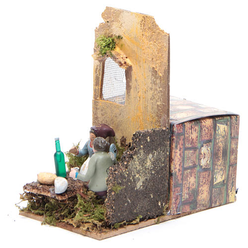 Scene with two shepherds measuring 7cm, animated nativity figurine 2