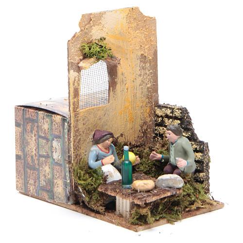 Scene with two shepherds measuring 7cm, animated nativity figurine 3
