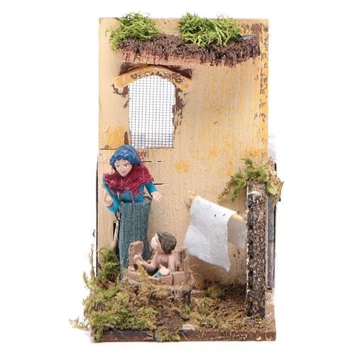 Woman bathing baby measuring 7cm, animated nativity figurine 1