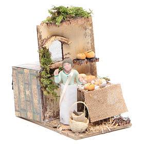 Vendeur de pain 10 cm mouvement crèche s3