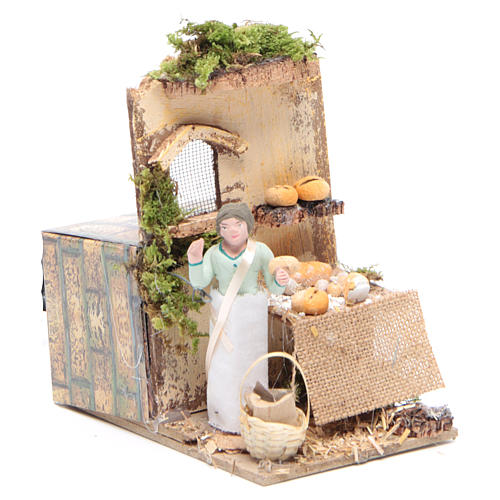 Vendeur de pain 10 cm mouvement crèche 3