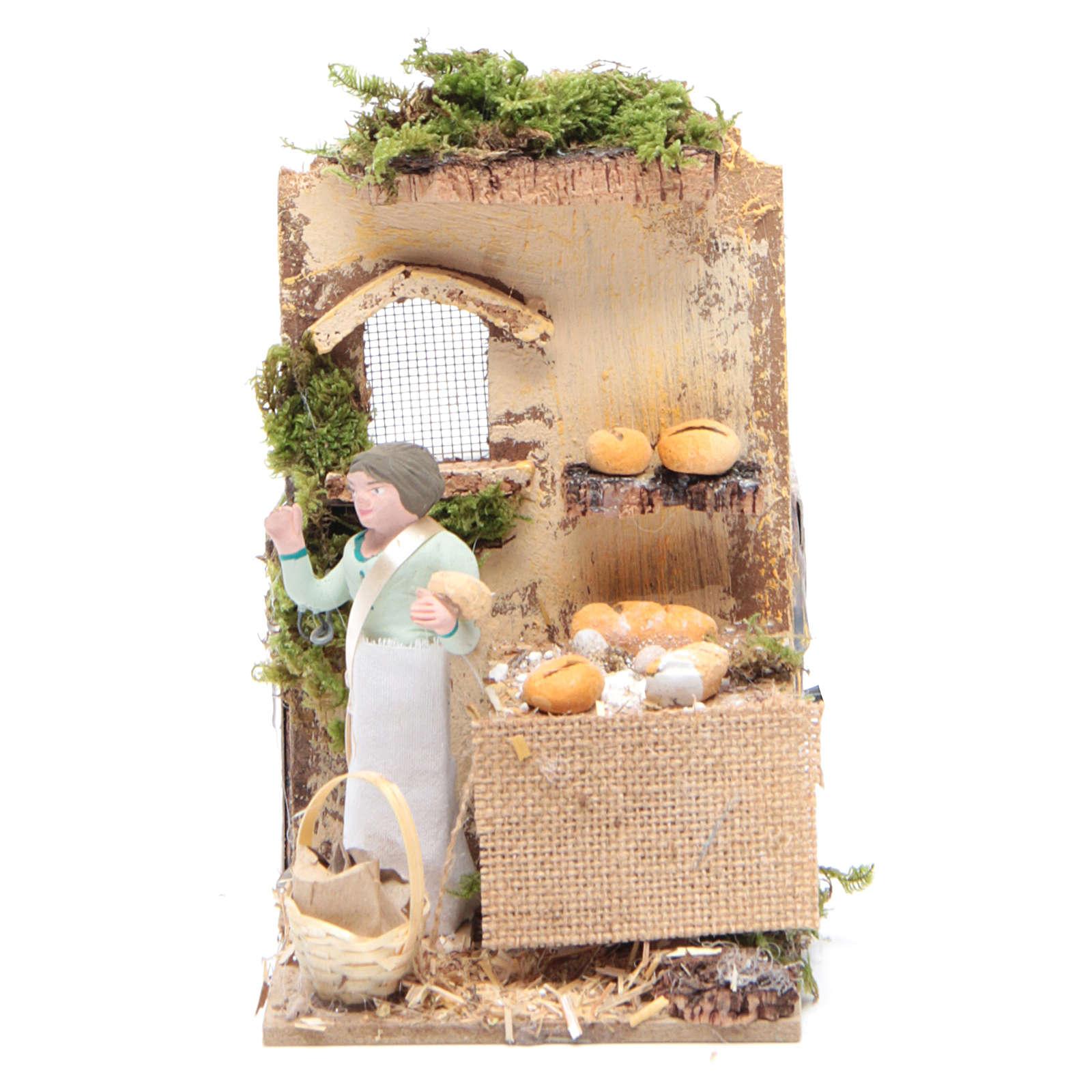 Venditore di pane 10 cm movimento presepe 3