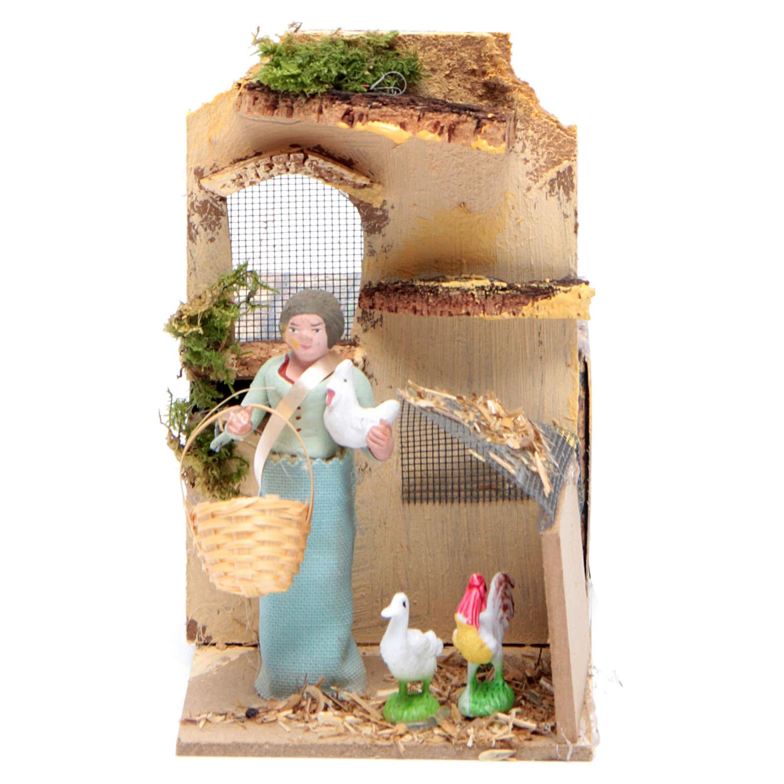 Pastore con galline cm 10 movimento presepe 3