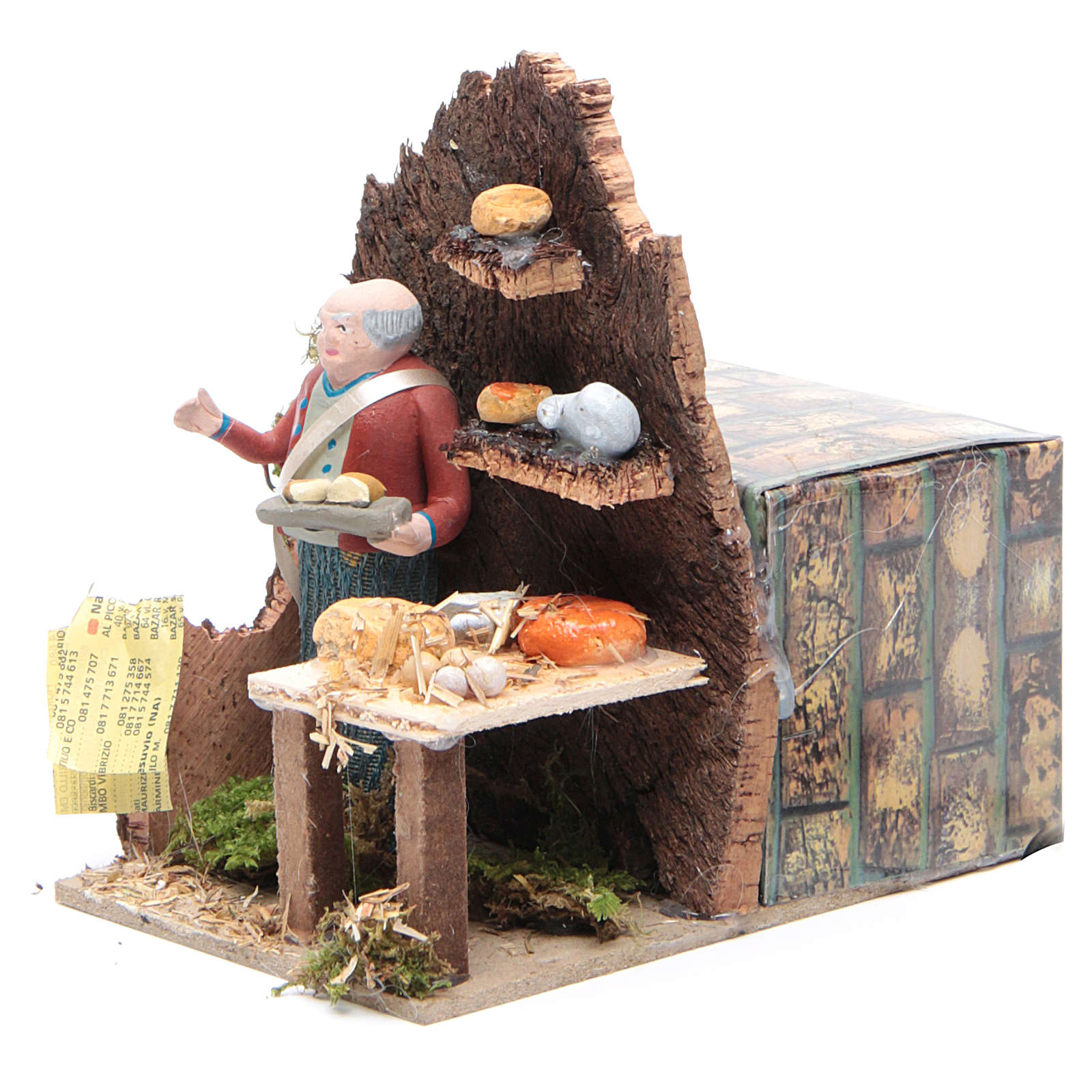 Man selling cheese measuring 10cm, animated nativity figurine 3