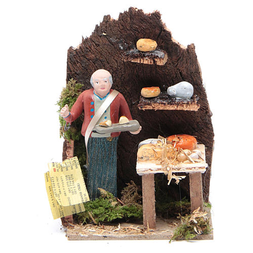 Man selling cheese measuring 10cm, animated nativity figurine 1