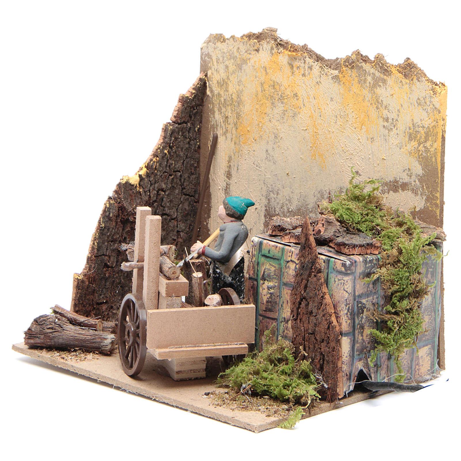 Pastor con madera 7cm movimiento Belén 3