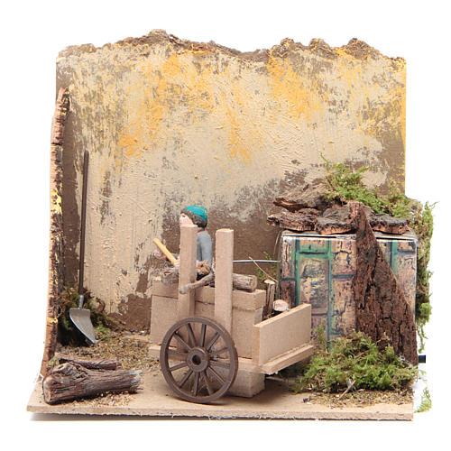 Pastor con madera 7cm movimiento Belén 1