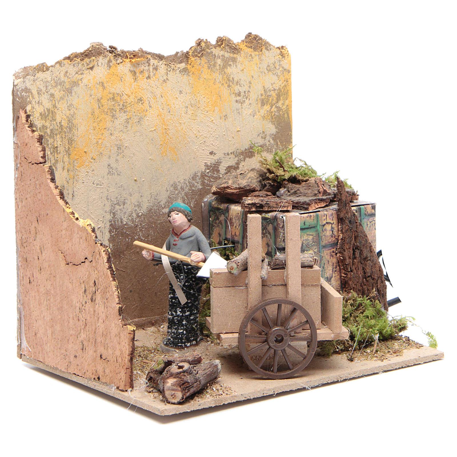Shepherd with wood measuring 7cm, animated nativity figurine 3