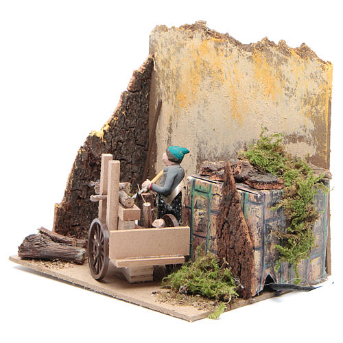 Shepherd with wood measuring 7cm, animated nativity figurine 2