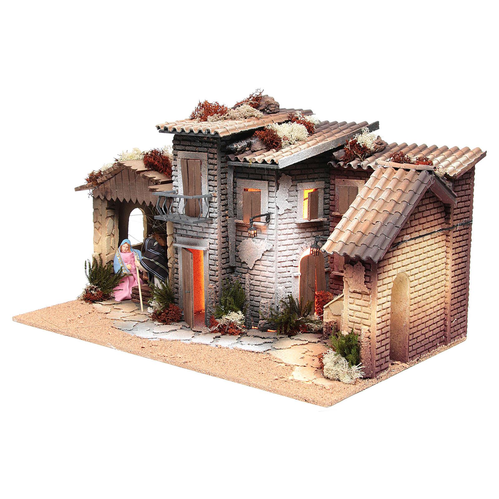 Pueblo Belén con natividad 12cm movimiento 26x60x35 cm 3
