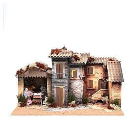 Pueblo Belén con natividad 12cm movimiento 26x60x35 cm s1