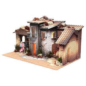 Pueblo Belén con natividad 12cm movimiento 26x60x35 cm s2