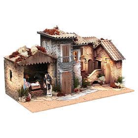 Borgo presepe con natività 12 cm movimento 28x60x35 cm s3