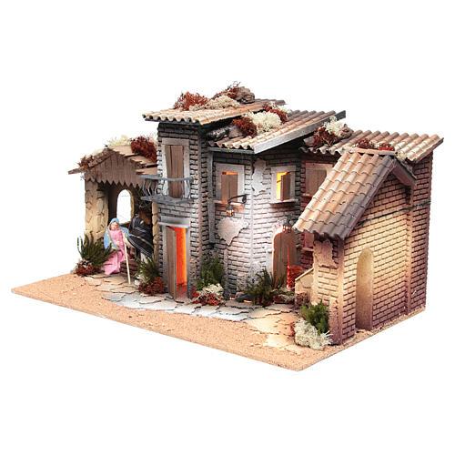 Borgo presepe con natività 12 cm movimento 28x60x35 cm 2