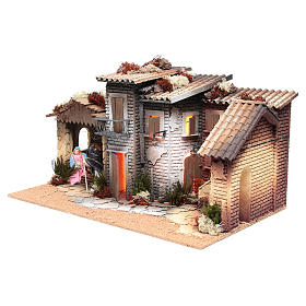 Nativity village with holy family 12cm, animated measuring 28x60x35cm s2