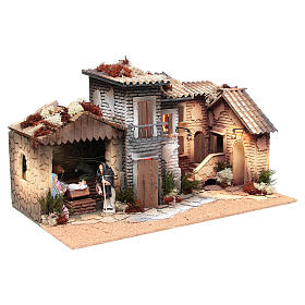 Nativity village with holy family 12cm, animated measuring 28x60x35cm s3
