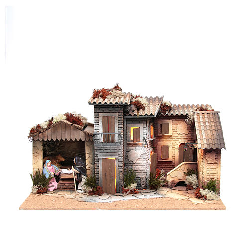 Nativity village with holy family 12cm, animated measuring 28x60x35cm 1