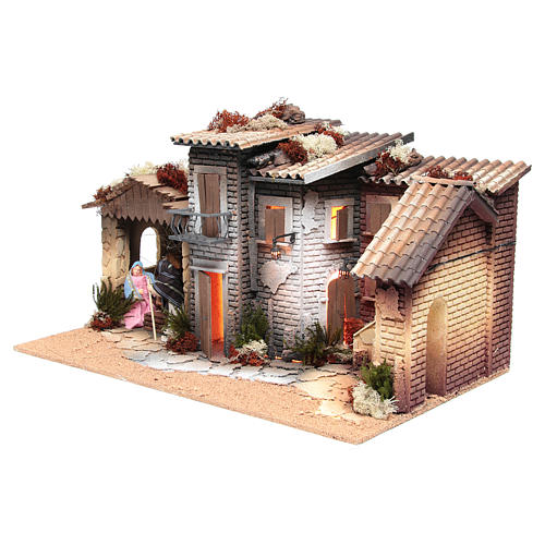 Nativity village with holy family 12cm, animated measuring 28x60x35cm 2
