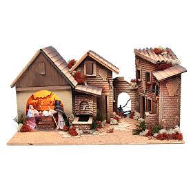 Borgo capanna presepe natività 12 cm movimento 30x60x35 cm s1