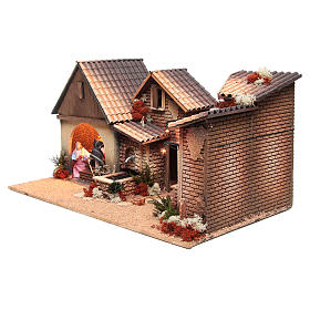 Nativity stable with holy family 12cm, animated measuring 30x60x35cm s2