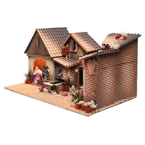 Nativity stable with holy family 12cm, animated measuring 30x60x35cm 2