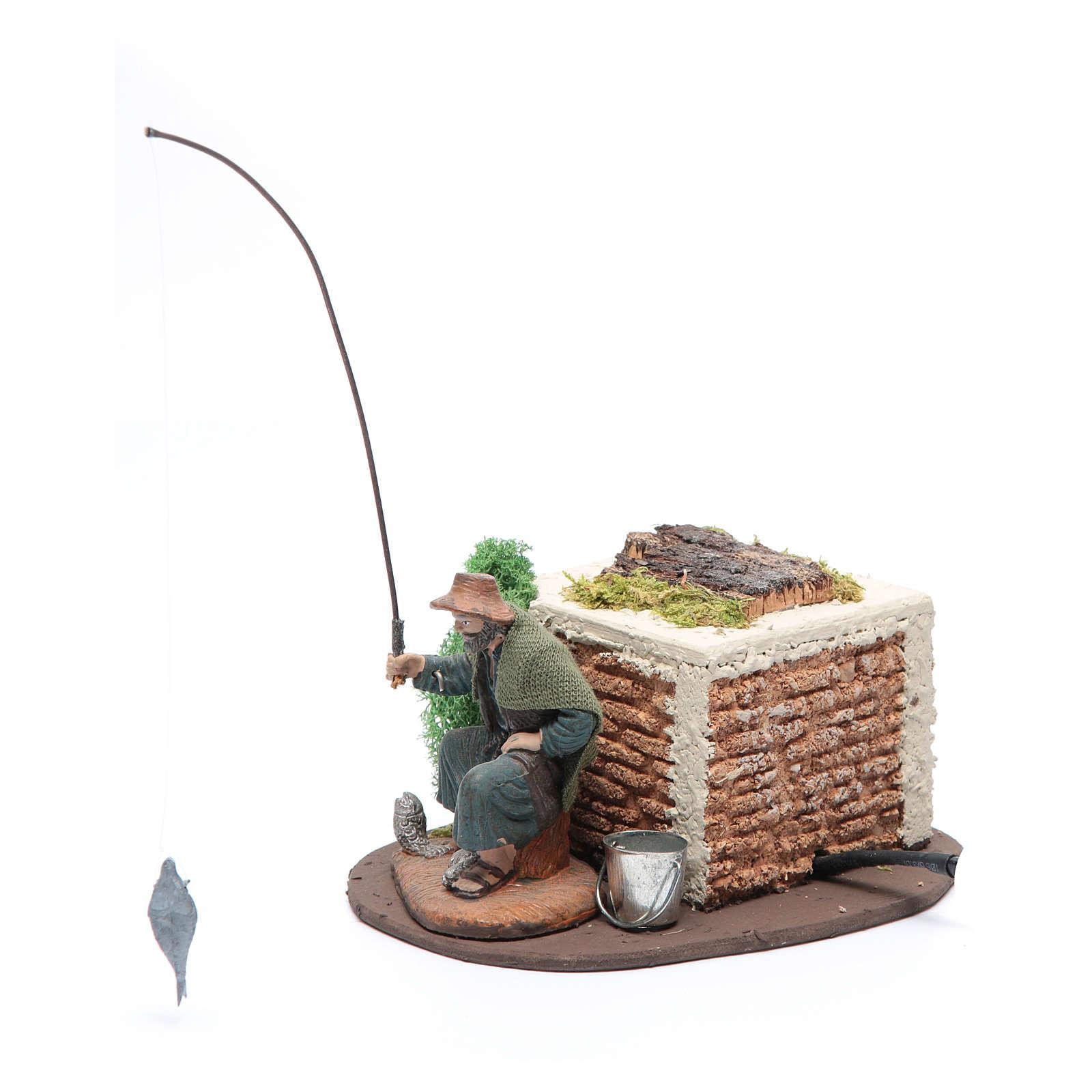 Pescatore seduto 10 cm movimento per presepe 3