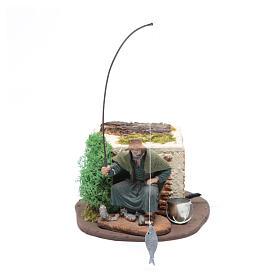 Pescatore seduto 10 cm movimento per presepe s1