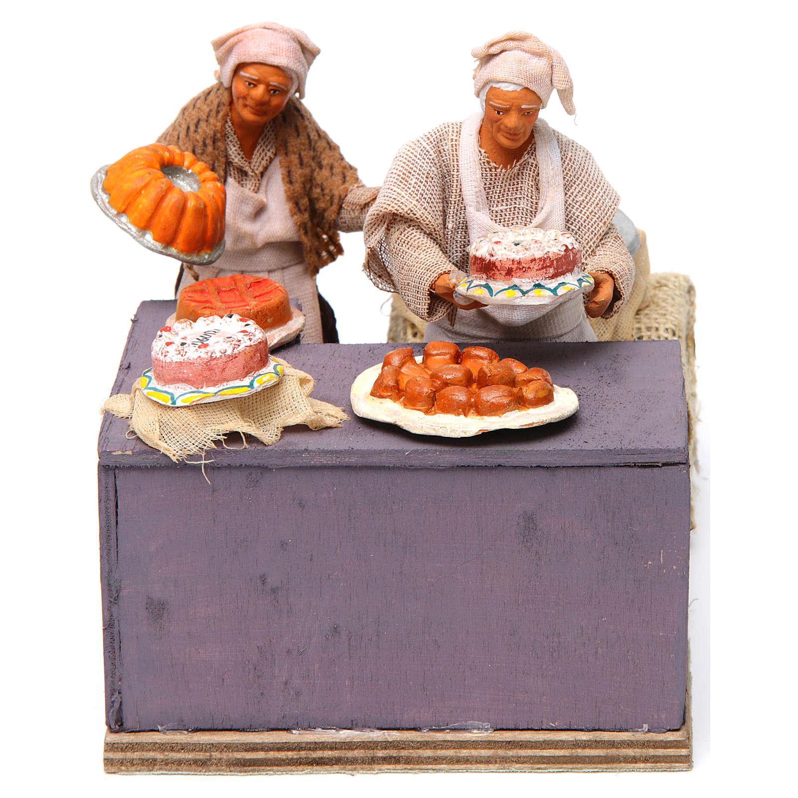 Pasticciere con cameriera in movimento 12 cm presepe napoli 4