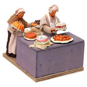 Pasticciere con cameriera in movimento 12 cm presepe napoli s3