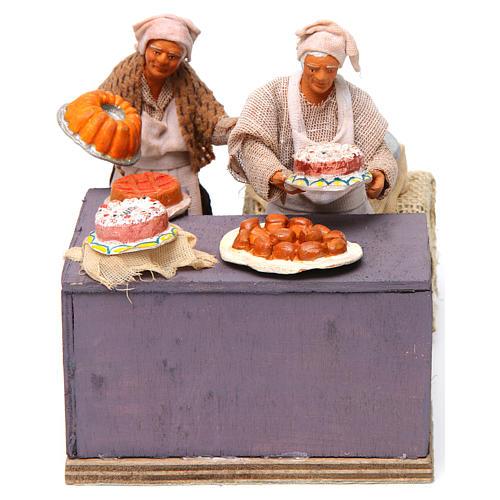 Pasticciere con cameriera in movimento 12 cm presepe napoli 1