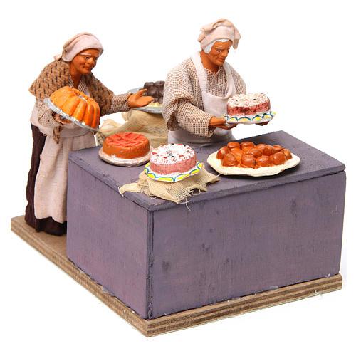 Pasticciere con cameriera in movimento 12 cm presepe napoli 3