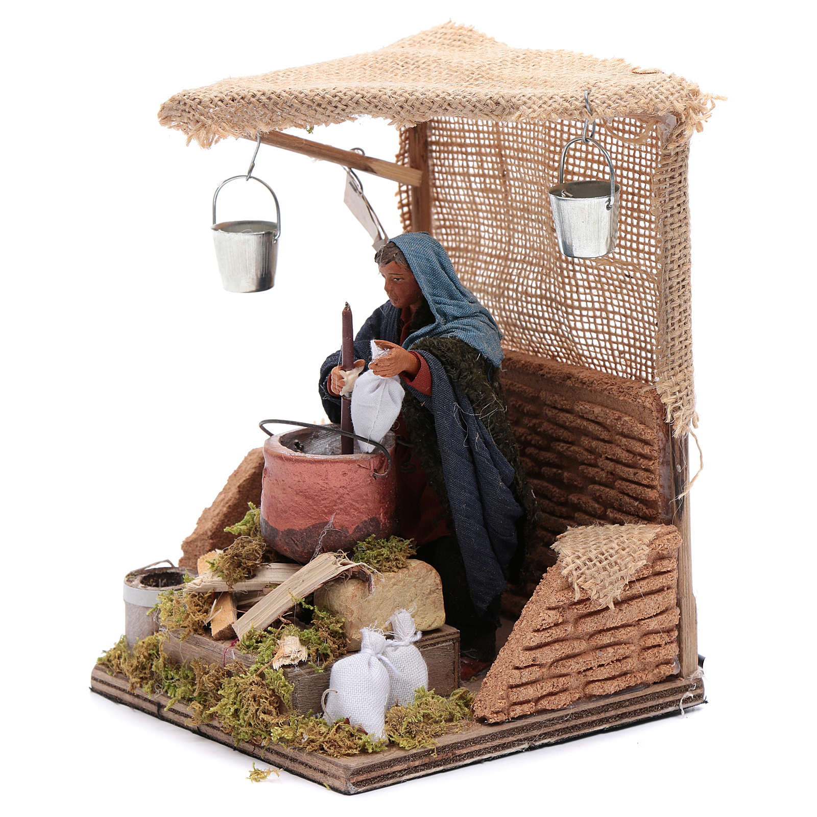 Man baking polenta 12cm Neapolitan Nativity animated figurine 4