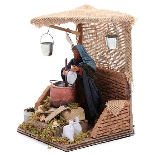 Man baking polenta 12cm Neapolitan Nativity animated figurine 2