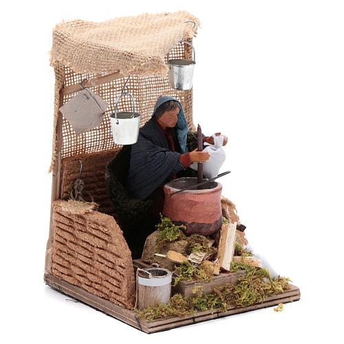 Man baking polenta 12cm Neapolitan Nativity animated figurine 3