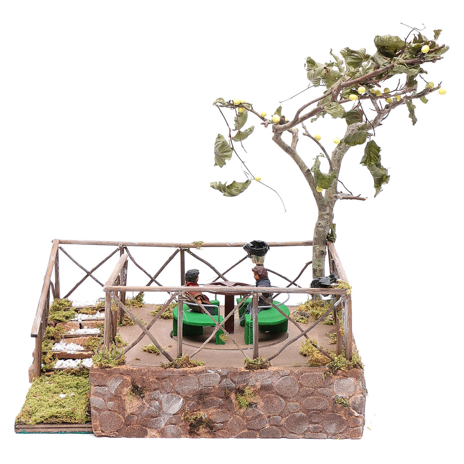 Carrousel avec 2 enfants crèche napolitaine 12 cm animation 4